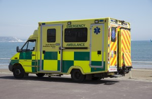Emergency ambulance on standby at the seafront