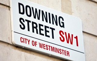 Downing Street in Westminster, London.  The home of the British Prime Minister.